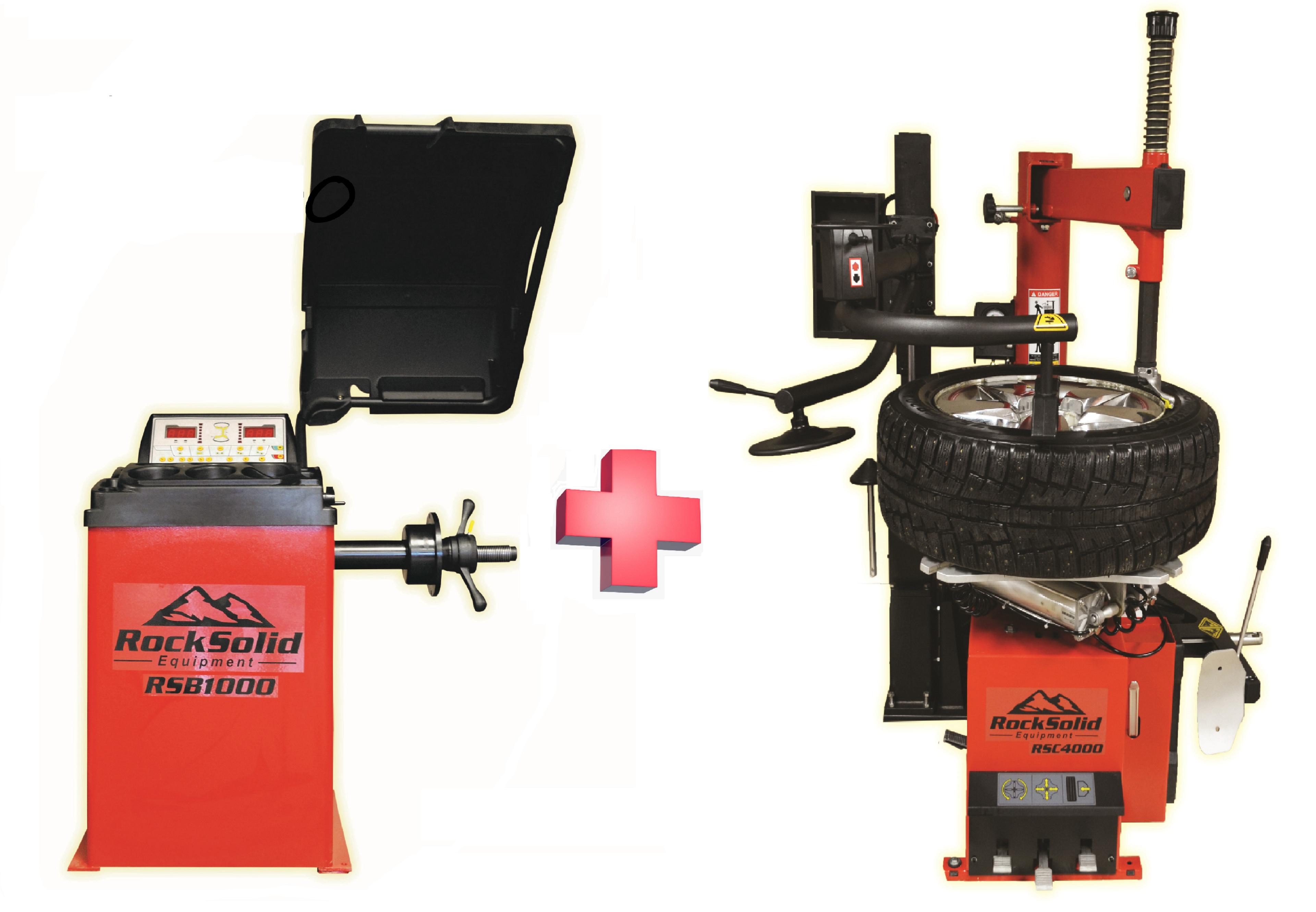 Swing Arm Tire Changer with Bead Press Arm + Wheel Balancer